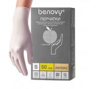 BENOVY перчатки латекс, неопудренные, M, 50 пар