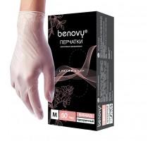 BENOVY перчатки винил, M, прозрачные, неопудренные, 50 пар