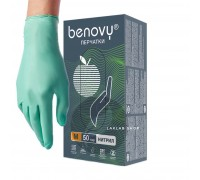 BENOVY перчатки нитрил, 3,5 г, XS, зеленые, 50 пар