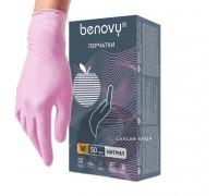 BENOVY перчатки нитрил, 3,5 г, XS, розовые, 50 пар