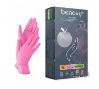 BENOVY перчатки нитрил, 4 г, S, розовые, 50 пар