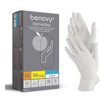 BENOVY перчатки нитрил, 3,5 г, L, белые, 50 пар