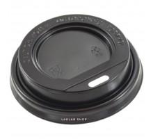 Крышка для стакана 80 мм с открытым питейником, черная, 100 шт